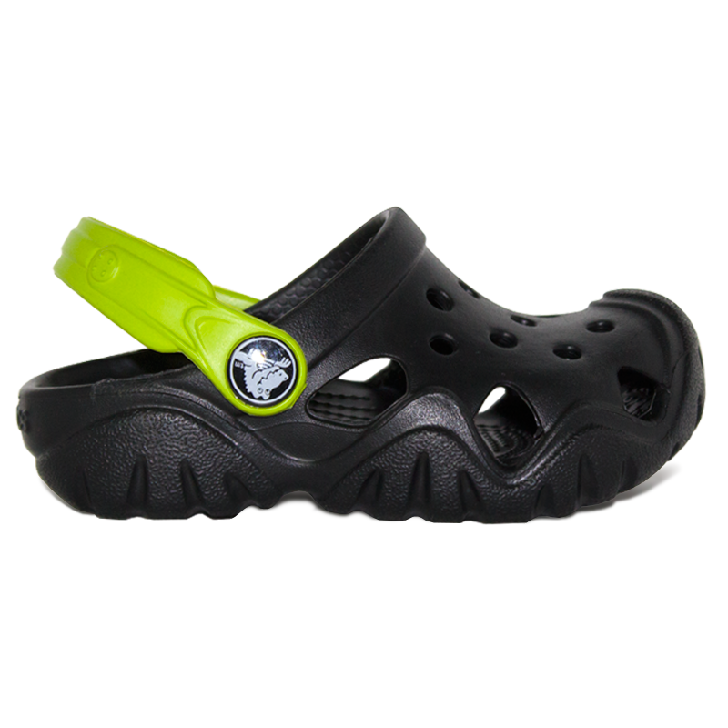 CROCS SWIFTWATER CLOG KIDS BLACK/VOLT GREEN
