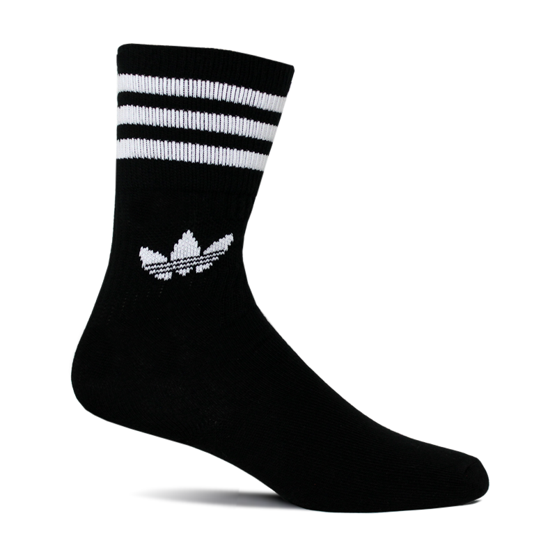 MEIA ADIDAS SOLID CREW SOCK BLACK/WHITE 39 A 42