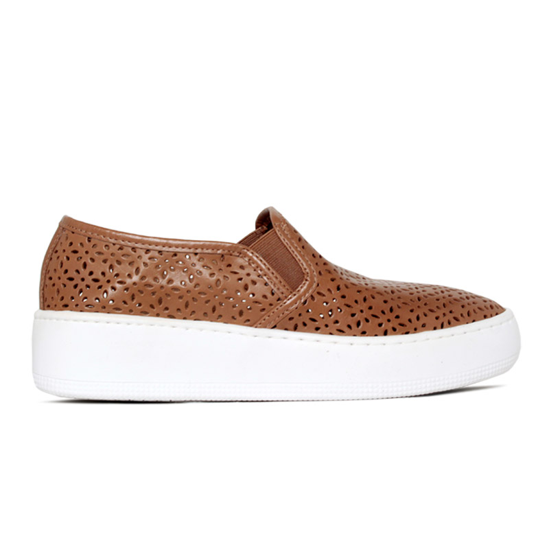NEW SLIP ON CONVEXO LASERCUT LEATHER CAMEL