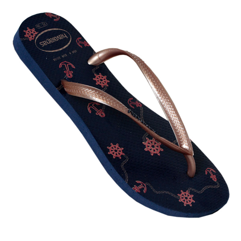 HAVAIANAS SLIM NAUTICAL MARINHO/ROSE GOLD