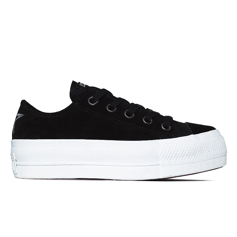 ALL STAR PLATAFORMA OX  SUEDE STAR PRETO