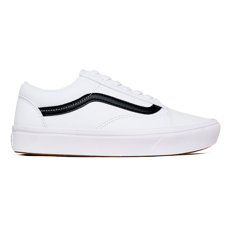 VANS COMFYCUSH OLD SKOOL TRUE WHITE  LEATHER
