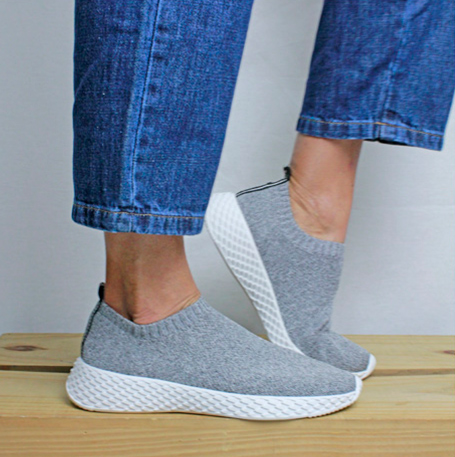 SLIP ON SOLA ESCAMA - KNIT CINZA