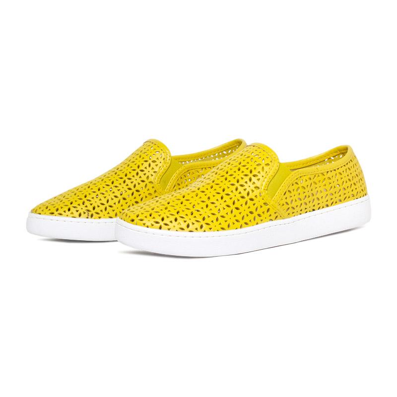 Flat lasercut slip on amarelo 3