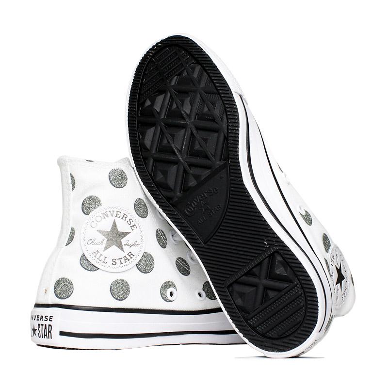 All star glitter dots hi branco prata 3