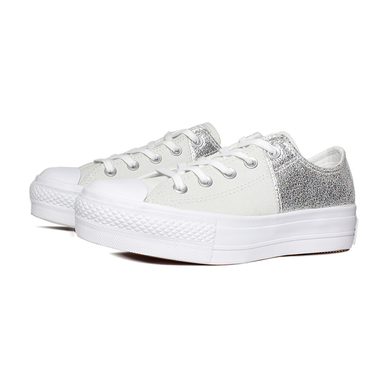 All star duo texture plataforma branco prata 3
