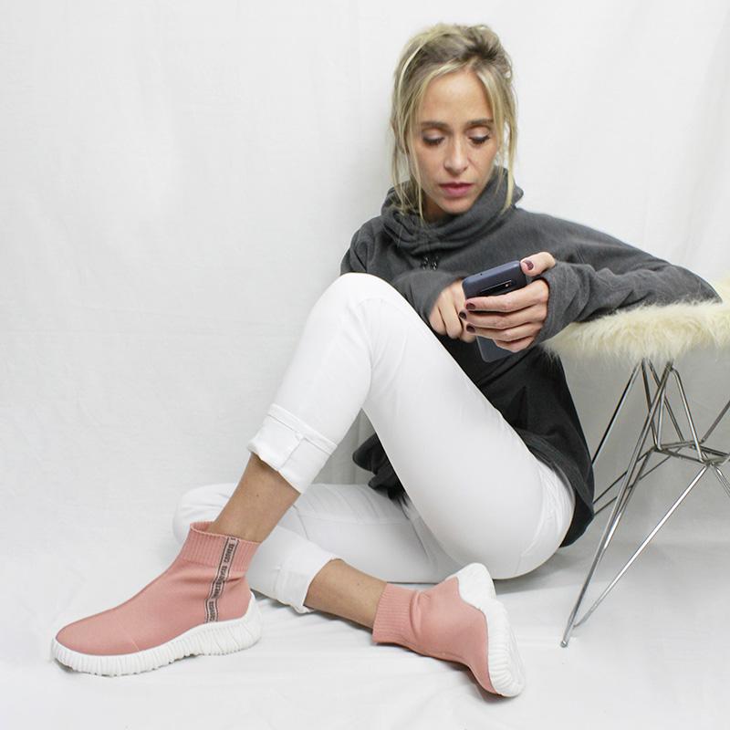 Bota knit convexo rose 1