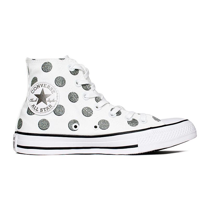 All star glitter dots hi branco prata 4
